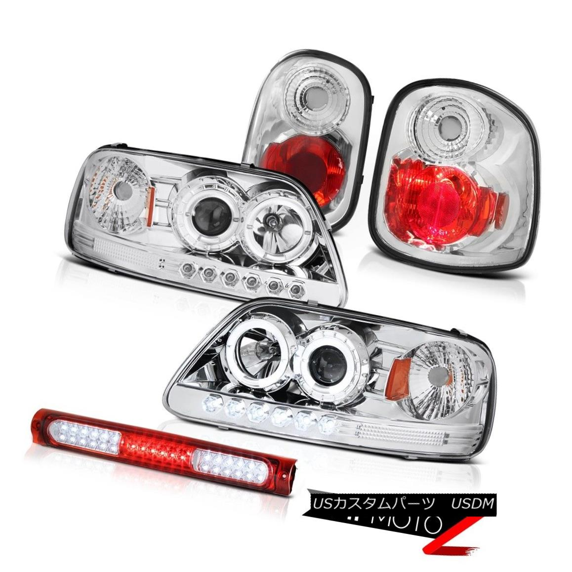 ヘッドライト Angel Eye Projector Headlights Euro Tail Lights LED Red 97-00 F150 Flareside XLT エンジェルアイプロジェクターヘッドライトユーロテールライトLEDレッド97-00 F150 Flareside XLT