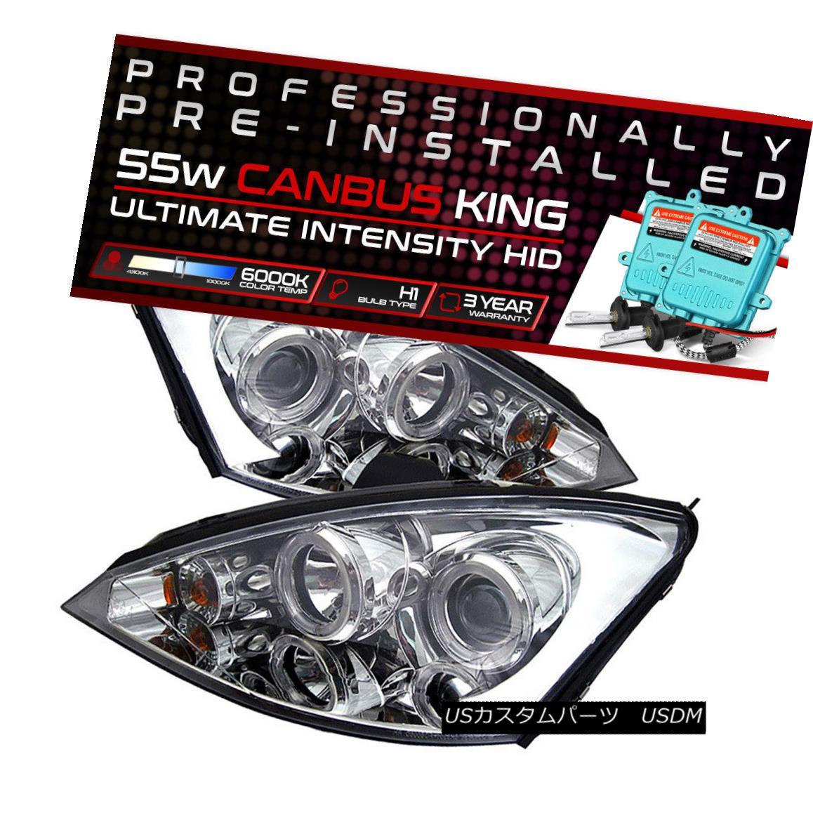 ヘッドライト !55W HID Built-In! 00-04 Ford Focus Chrome Dual Halo Projector Headlight Lamp !55W HID内蔵! 00-04フォードフォーカスクロームデュアルヘイロープロジェクターヘッドライトランプ