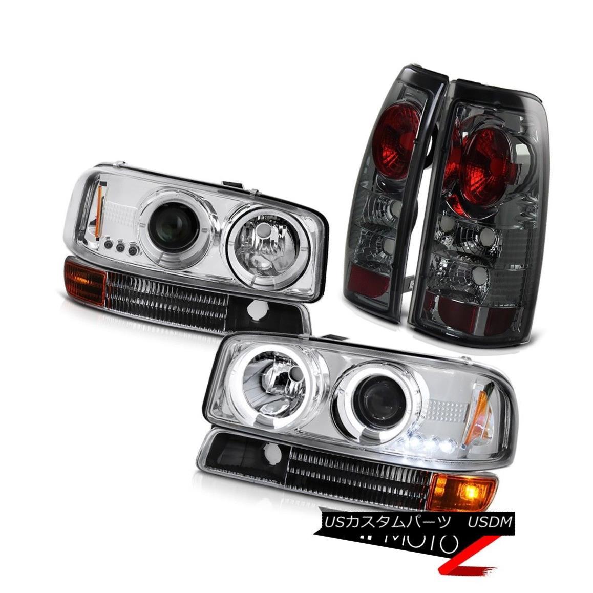 ヘッドライト 99-03 Sierra 1500 Euro Halo LED Headlights Black Parking Smoke Rear Brake Lamps 99-03 Sierra 1500 Euro Halo LEDヘッドライト黒色の駐車煙の後部ブレーキランプ