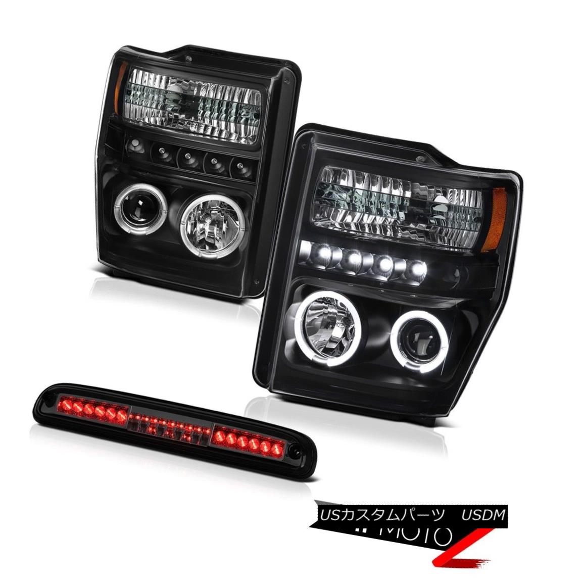 ヘッドライト 2008-2010 F250 F350 F450 FLariat Halo Headlight Smoke Third Brake LED Tail Light 2008-2010 F250 F350 F450 FLariat HaloヘッドライトスモークサードブレーキLEDテールライト