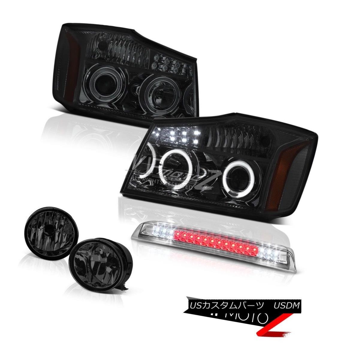 ヘッドライト Dark Smoke Halo LED Headlights Fog High 3rd Brake Light For 2004-2015 Titan SL ダークスモークハローLEDヘッドライト2004年?2015年のフォッグハイの第3ブレーキライトTitan SL