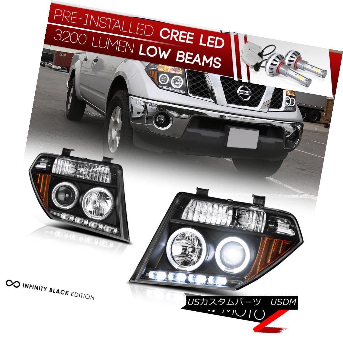 ヘッドライト [CREE LED Bulb] For 05-08 Pathfinder Black LED DRL Dual Halo Projector Headlight [クリーLEDバルブ] 05-08パスファインダーブラックLED DRLデュアルヘイロープロジェクターヘッドライト