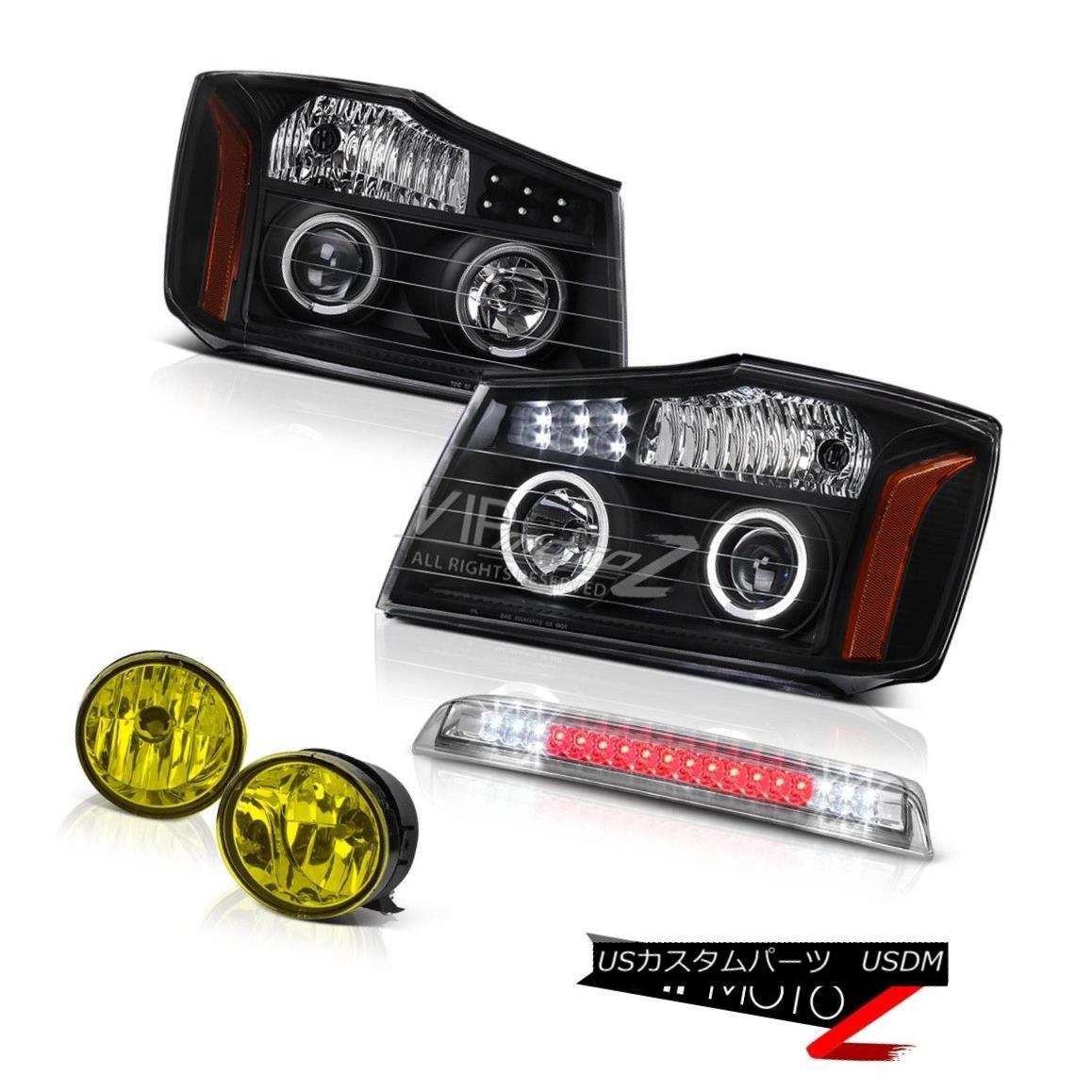 ヘッドライト Projector Black Headlights Yellow Fog High Brake Cargo LED For 04-15 Titan LE プロジェクターブラックヘッドライトイエローフォグハイブレーキ用カーゴLED 04-15 Titan LE