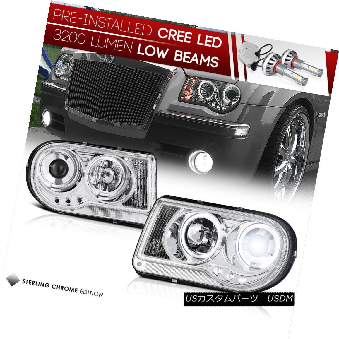 ヘッドライト [LED LOW BEAM] 2005-2010 Chrysler 300C CHROME Angel Eye DRL Projector Headlights [LED LOW BEAM] 2005-2010 Chrysler 300C CHROMEエンジェルアイDRLプロジェクターヘッドライト