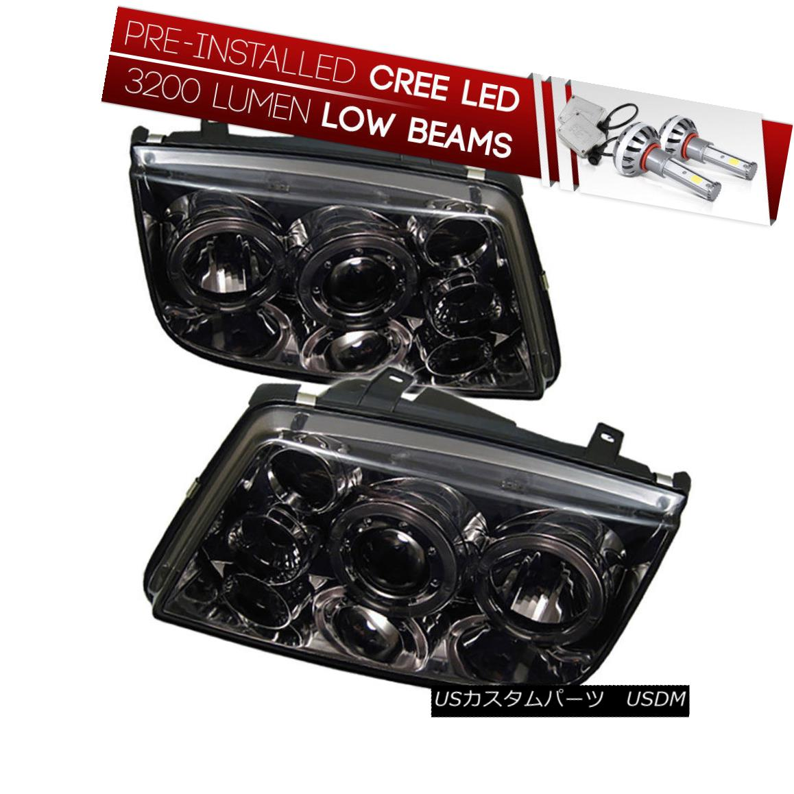 ヘッドライト [CREE LED Bulb Installed]99-05 Jetta Bora Smoked Dual Halo Projector Headlight [CREE LED Bulb Installed] 99-0  5 Jetta Boraスモークデュアルハロープロジェクターヘッドライト