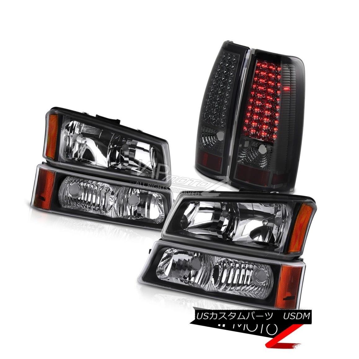 ヘッドライト Headlights Black Signal Bumper Set 2003 2004 Chevy Silverado LED Bulb Tail Light ヘッドライトブラック信号バンパーセット2003 2004 Chevy Silverado LED電球テールライト