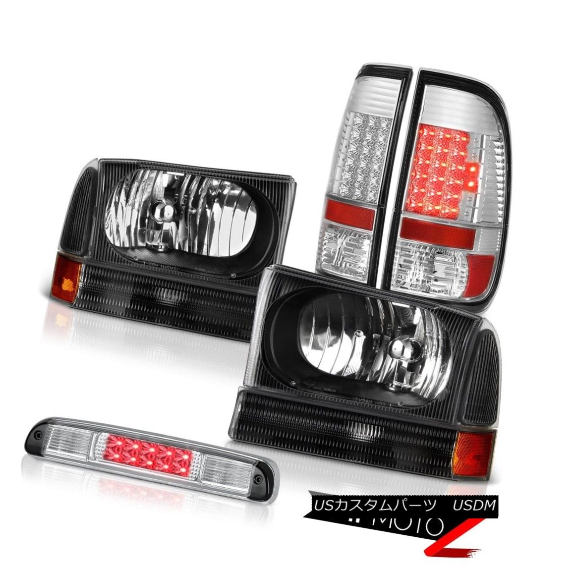 ヘッドライト Inky Black Headlights SMD Tail Lights Roof Stop LED Clear 99-04 Ford SuperDuty Inky BlackヘッドライトSMDテールライトルーフストップLED Clear 99-04 Ford SuperDuty