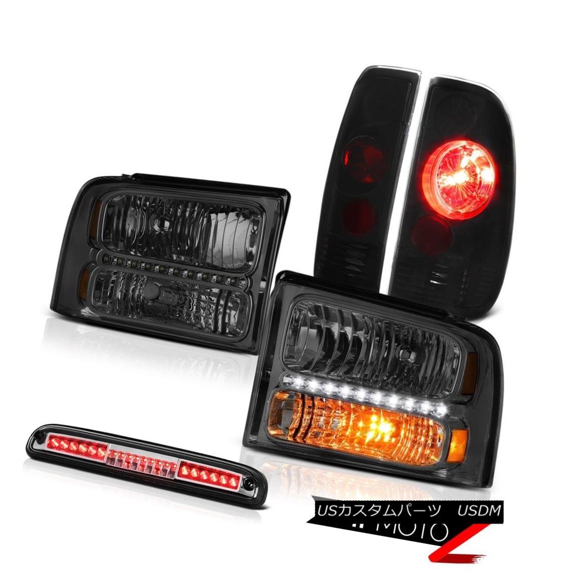 ヘッドライト 05-07 F350 Lariat Dark Headlights Black Smoke Tail Lights Roof Brake LED Chrome 05-07 F350ラリアットダークヘッドライトブラックスモークテールライトルーフブレーキLEDクローム