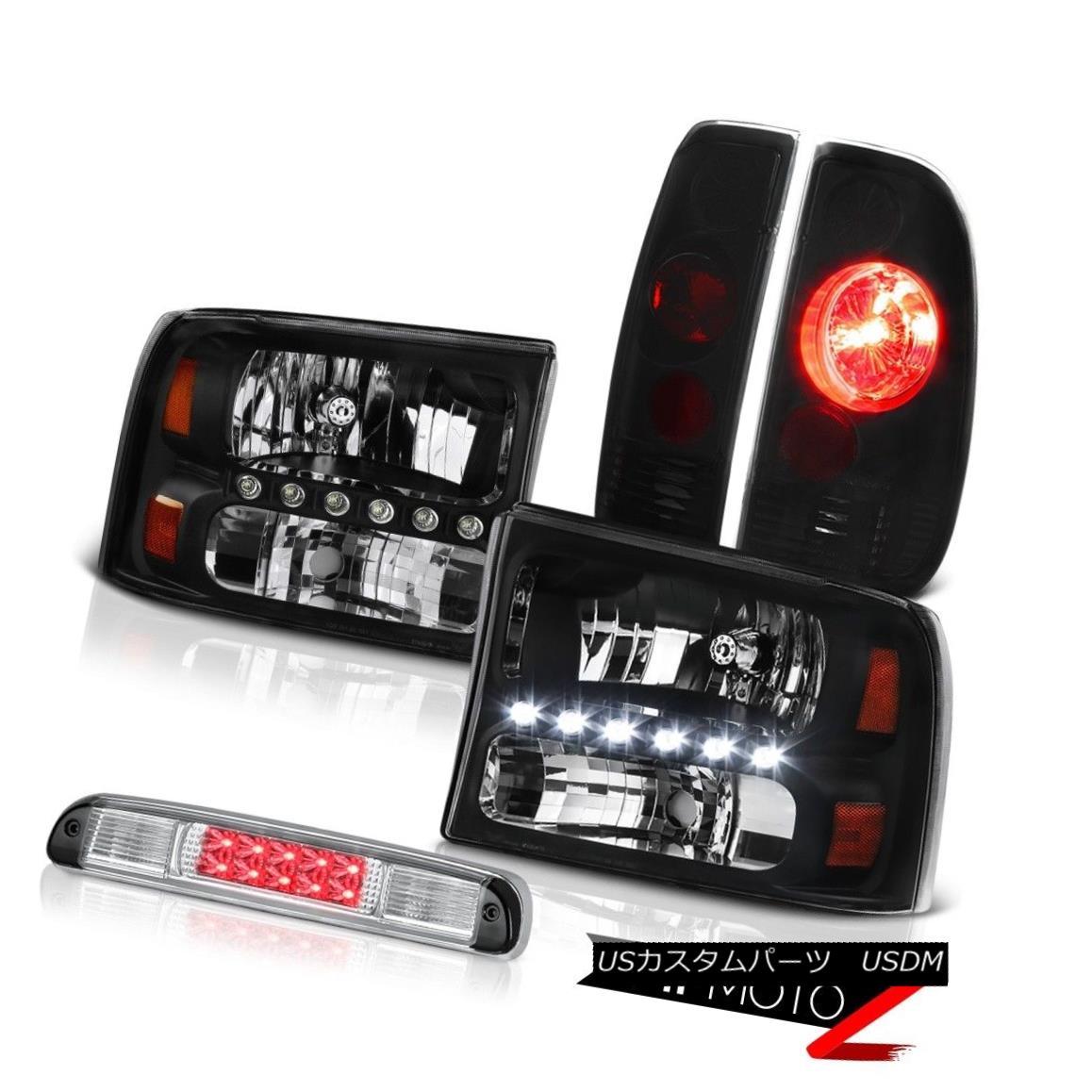ヘッドライト Raven Black Headlamps Sinister Tail Lights Euro Third Brake LED 99-04 F250 XL Raven BlackヘッドランプSinister Tail LightsユーロサードブレーキLED 99-04 F250 XL
