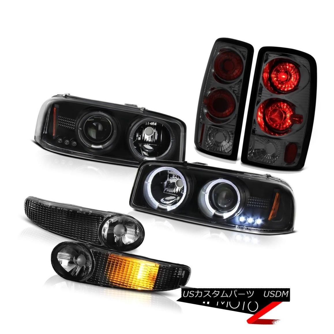 ヘッドライト 00-06 Denali DRL Halo Headlights Satin Black Yukon Signal Smoke Rear Tail Lights 00-06デナリDRLハローヘッドライトサテンブラックユーコンシグナルスモールリアテールライト