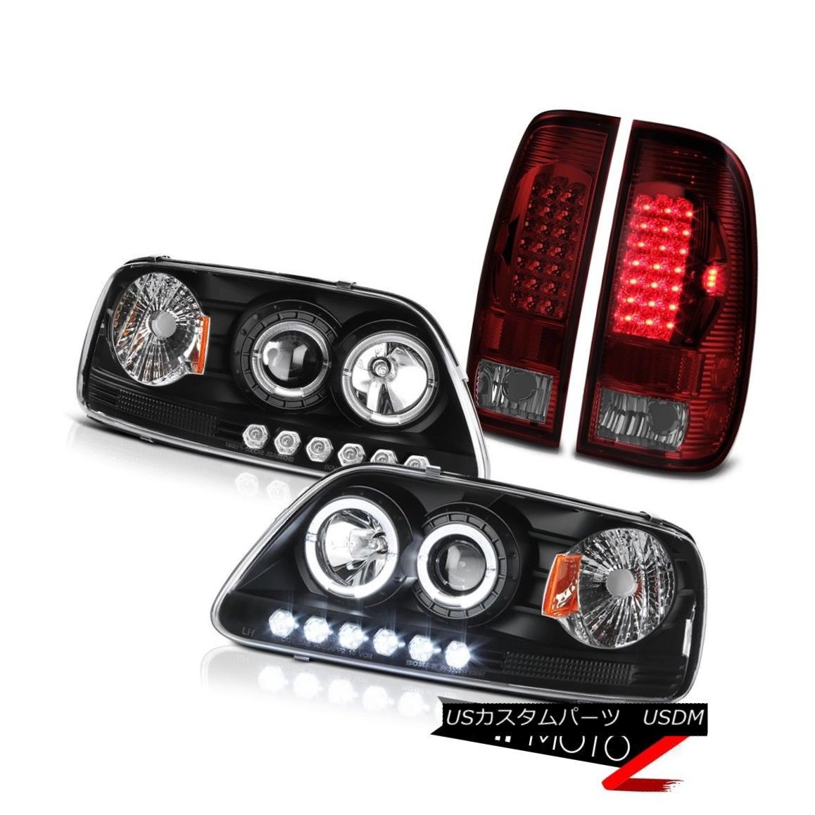 ヘッドライト F150 Triton 97-03 Black Angel Eye HALO Projector Headlights SMD LED Brake Lamps F150トリトン97-03ブラックエンジェルアイハロープロジェクターヘッドライトSMD LEDブレーキランプ