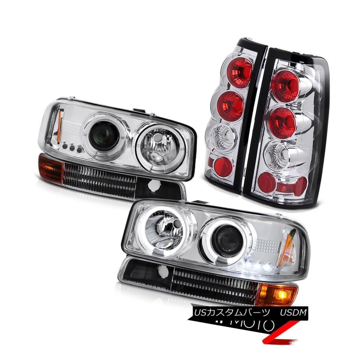 ヘッドライト 99-03 Sierra 5.3L V8 LED Angel Eye Headlights Black Signal Chrome Rear Tail Lamp 99-03 Sierra 5.3L V8 LEDエンジェルアイヘッドライトブラックシグナルクロームリアテールランプ
