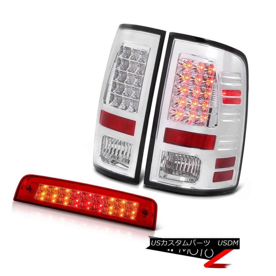 ヘッドライト 13-18 Ram 3500 Turbodiesel Rosso Red Roof Brake Lamp Euro Chrome Tail Lamps LED 13-18ラム3500 TurbodieselロッソレッドルーフブレーキランプユーロクロームテールランプLED