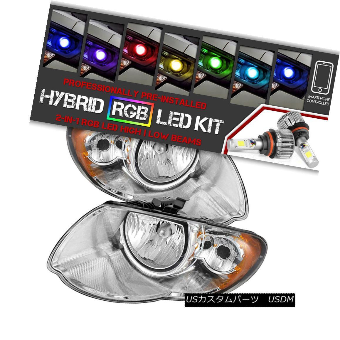 ヘッドライト [CREE LED Bulb]05-07 Chrysler Town&Country Chrome Replacement Headlight Assembly [CREE LED電球] 05-07クライスラータウン&カントリークローム交換ヘッドライトアセンブリ