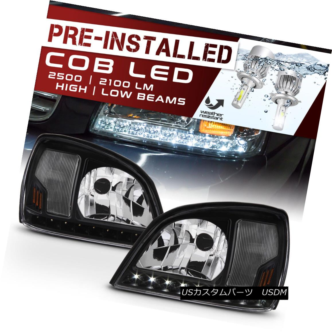 ヘッドライト [CREE LED Low Beam Bulbs] 00-05 Cadillac DeVille Factory Style Black Headlight [CREE LEDロービーム電球] 00-05 Cadillac DeVilleファクトリースタイルブラックヘッドライト