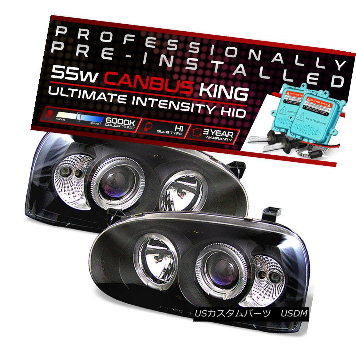 ヘッドライト !55W HID Built-In! 93-98 Volkswagen Golf MK3 Black Dual Halo Projector Headlight !55W HID内蔵! 93-98フォルクスワーゲンゴルフMK3ブラックデュアルヘイロープロジェクターヘッドライト