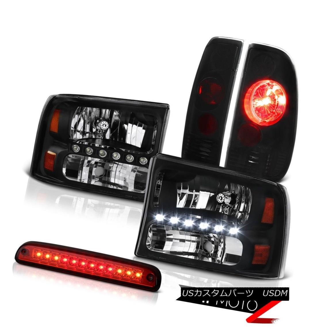 ヘッドライト L+R Black Headlamp 3rd Brake Red LED Smoke+Black Tail Light 99-04 Ford SuperDuty L + Rブラックヘッドランプ第3ブレーキ赤色LEDスモーク+ブラックテールライト99-04 Ford SuperDuty