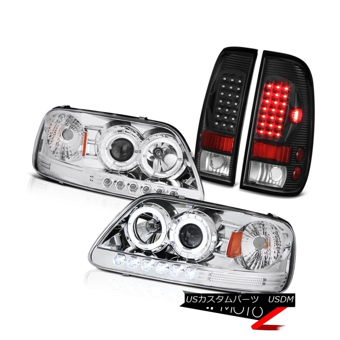ヘッドライト F150 V6 1999 2000 2001 Halo Rim Headlight Smoke Black Brake Rear Tail Lights Set F150 V6 1999 2000 2001ハローリムヘッドライトスモークブラックブレーキリアテールライトセット