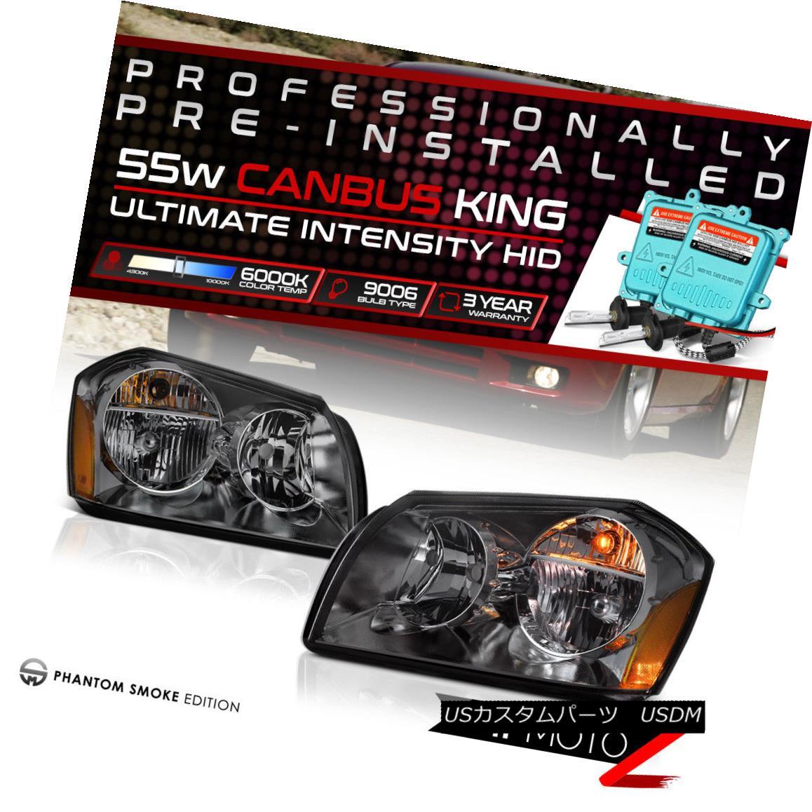 ヘッドライト !55W HID Built-In! 05-07 Dodge Magnum Smoked Replacement Headlight Lamp Assembly !55W HID内蔵! 05-07 Dodge Magnumスモーク交換ヘッドライトランプアセンブリ