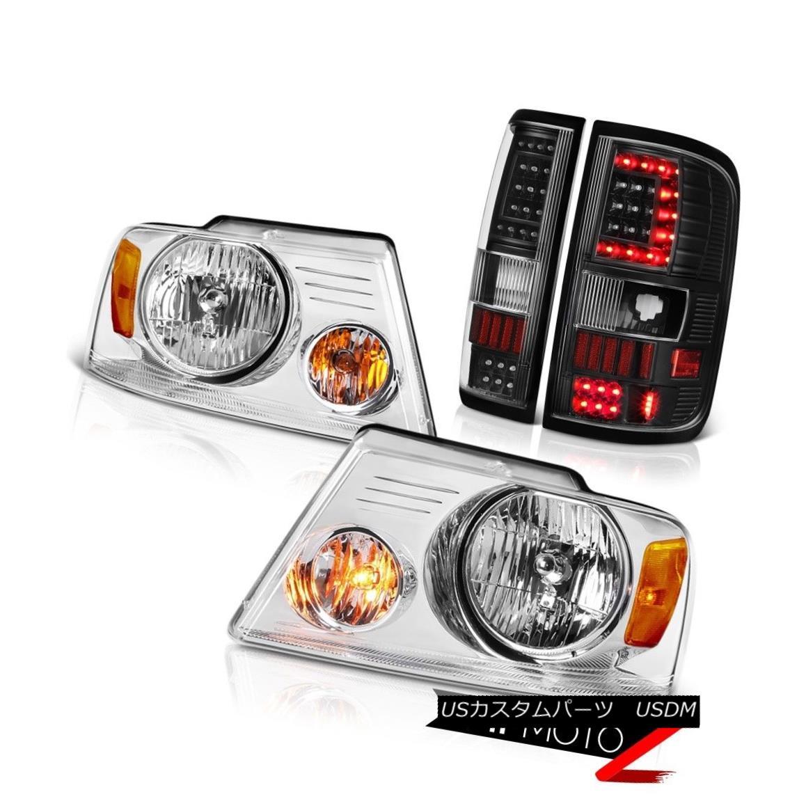 ヘッドライト 04-08 Ford F150 F-150 Matte Black Fiber Optic Tail Lamp Clear Chrome Head L+R 04-08 Ford F150 F-150マットブラック光ファイバーテールランプクリアクロームヘッドL + R