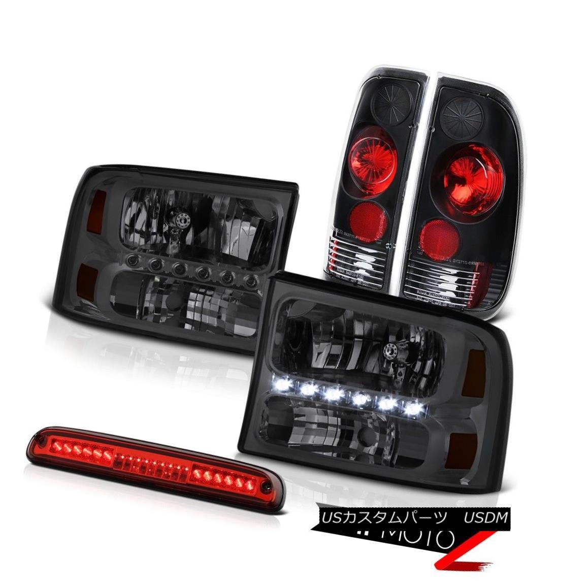 ヘッドライト Dark Smoke HeadLights Rear Black Roof Third Brake LED Red 1999-2004 Ford F250 SD ダークスモークヘッドライトリアブラックルーフ第3ブレーキLEDレッド1999-2004 Ford F250 SD