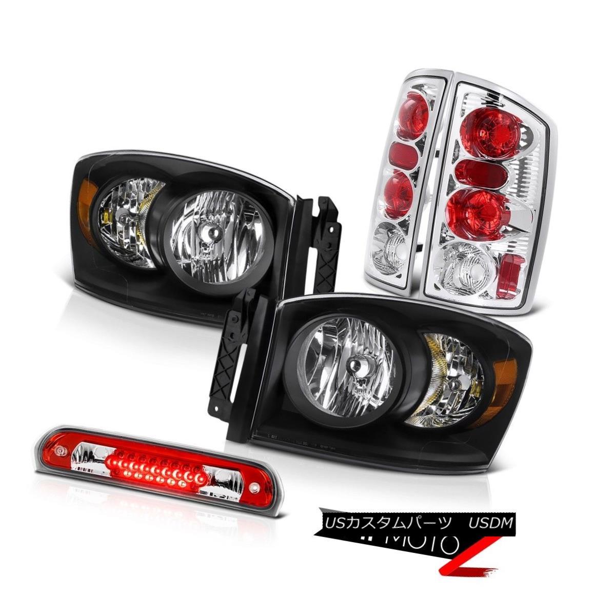 ヘッドライト 2006 Dodge Ram WS Clear/Black Headlights Rear Tail Lamps Third Brake Cargo LED 2006ダッジラムWSクリア/ブラックヘッドライトリアテールランプ第3ブレーキカーゴLED