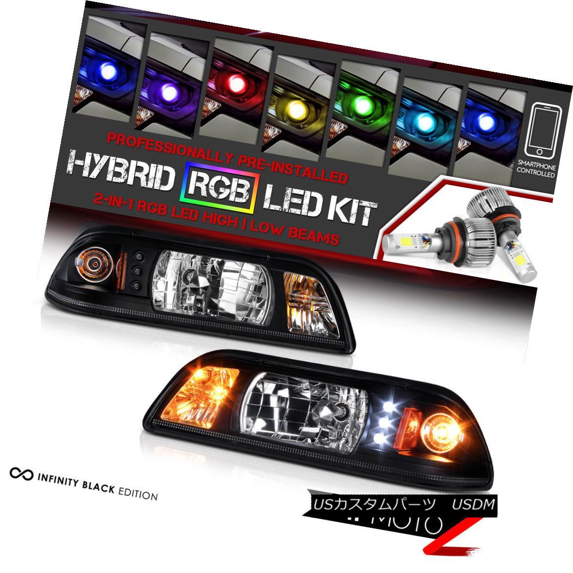 ヘッドライト [Bluetooth RGB LED Bulbs] Black 1PC Headlight Signal Lamp 87-93 Ford Mustang GT [ブルートゥースRGB LED電球]黒1PCヘッドライト信号ランプ87-93フォードマスタングGT