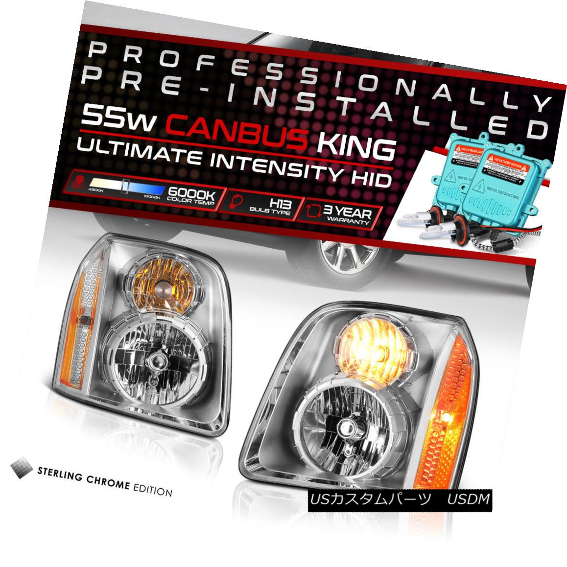 ヘッドライト !Built-In HID Low Beam! Factory Style Headlights SET For 2007-2014 GMC Yukon XL !内蔵HIDロービーム! 工場スタイルのヘッドライトは、2007年?2014年のGMCユーコンXL