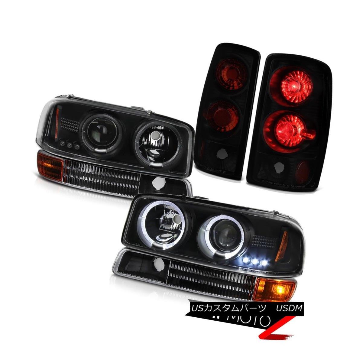 ヘッドライト Dual Halo Headlight 00-06 Yukon Front Bumper Signal Parking Black Smoke Taillamp デュアルヘイローヘッドライト00-06ユーコンフロントバンパーシグナルパーキングブラックスモークタイランプ