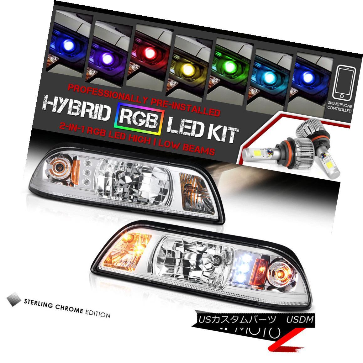 ヘッドライト [Bluetooth RGB LED Bulbs] 1PC Chrome Headlight Signal 87-93 Ford Mustang GT V8 [ブルートゥースRGB LED電球] 1PCクロームヘッドライト信号87-93フォードマスタングGT V8