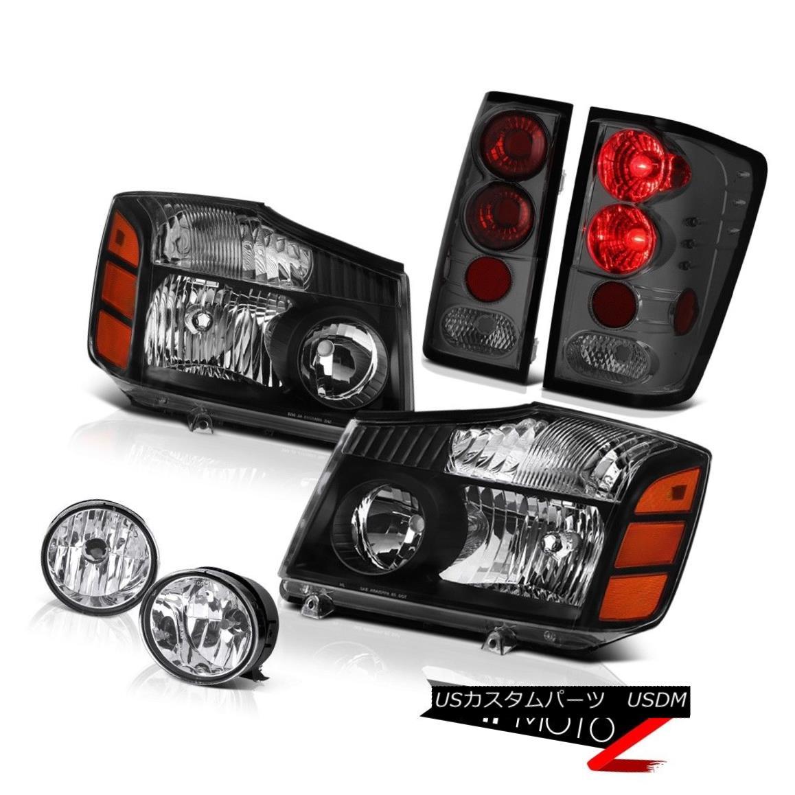 ヘッドライト NEW For 2004-2015 Titan S Left Right Headlights Smoked Brake Lights Bumper Fog 2004年?2015年のNEWタイタンS左ライトヘッドライトスモークブレーキライトバンパーフォグ