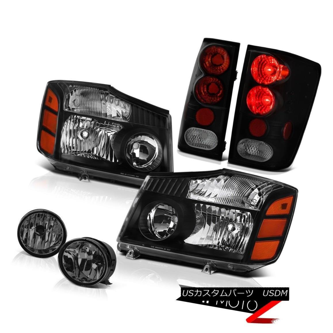 ヘッドライト For 2004-2015 Titan LE Black Diamond Headlight Smoke+Black Taillight Bumper Fog 2004年?2015年Titan LEブラックダイヤモンドヘッドライトスモーク+ブラックテールライトバンパーフォグ