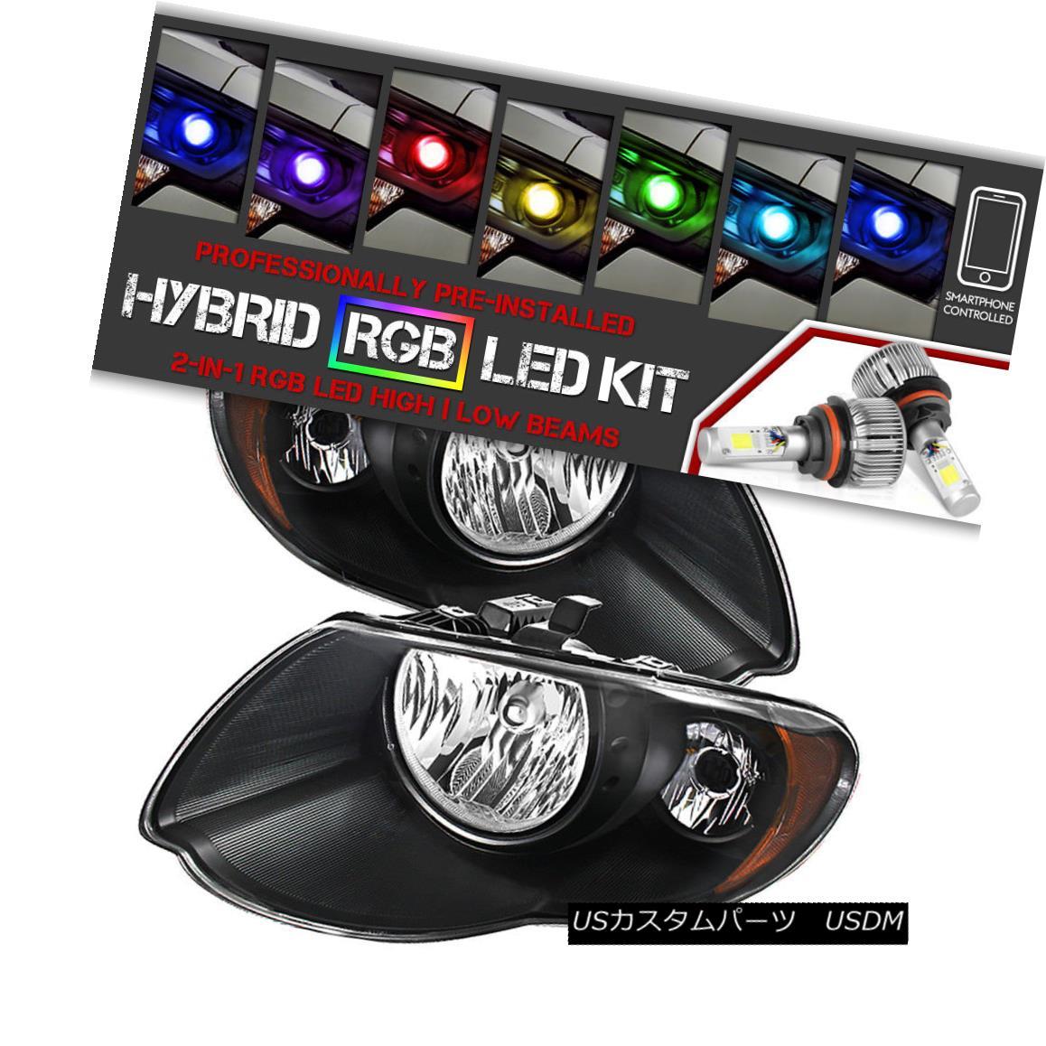 ヘッドライト [Bluetooth RGB LED Bulbs]05-07 Chrysler Town&Country Black Replacement Headlight [Bluetooth RGB LED電球] 05-07クライスラータウン&カントリーブラック代替ヘッドライト