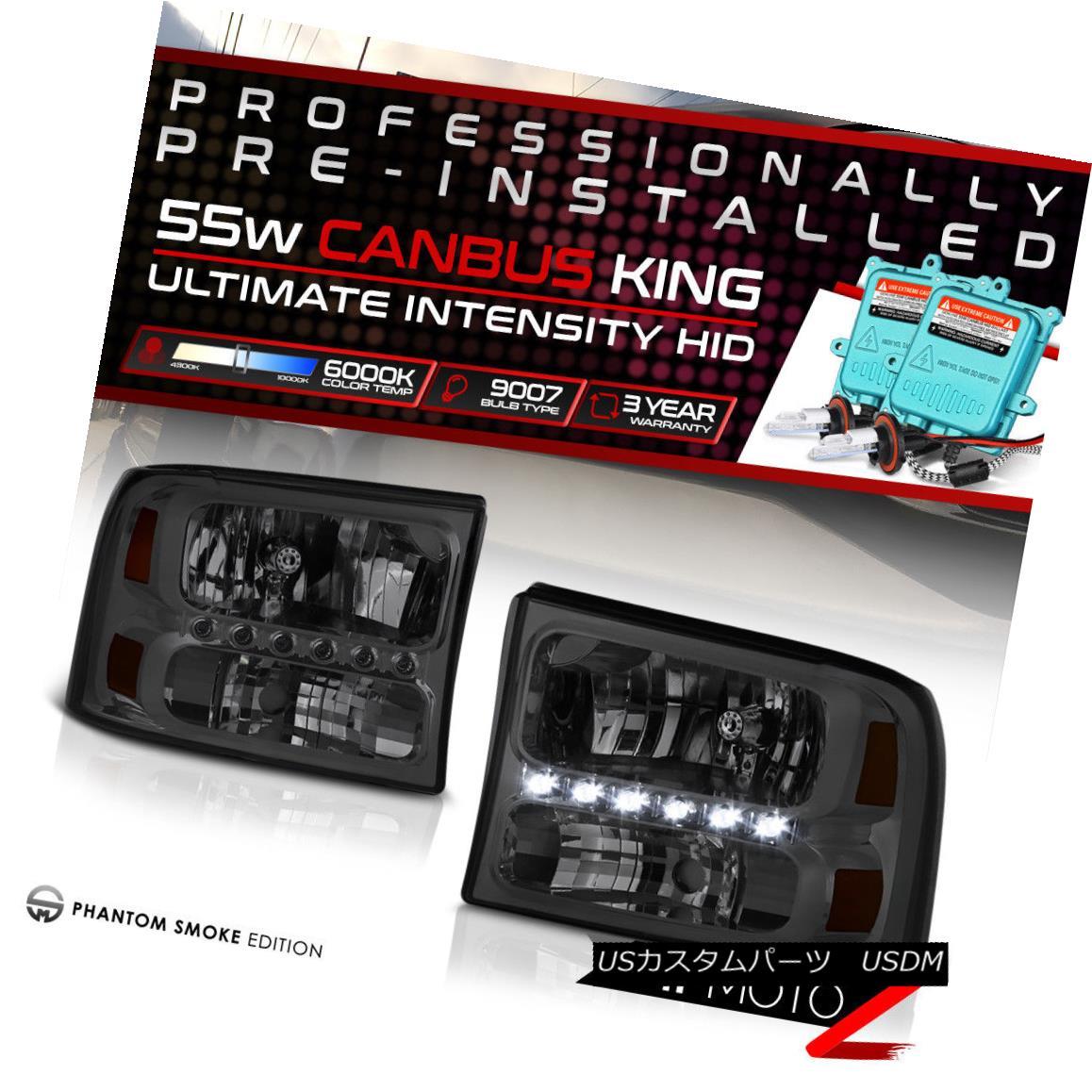 ヘッドライト !55W HID Built-In! 99-04 Ford SuperDuty Smoked LED DRL Headlight Lamp Assembly !55W HID内蔵! 99-04フォードSuperDutyスモークLED DRLヘッドライトランプアセンブリ