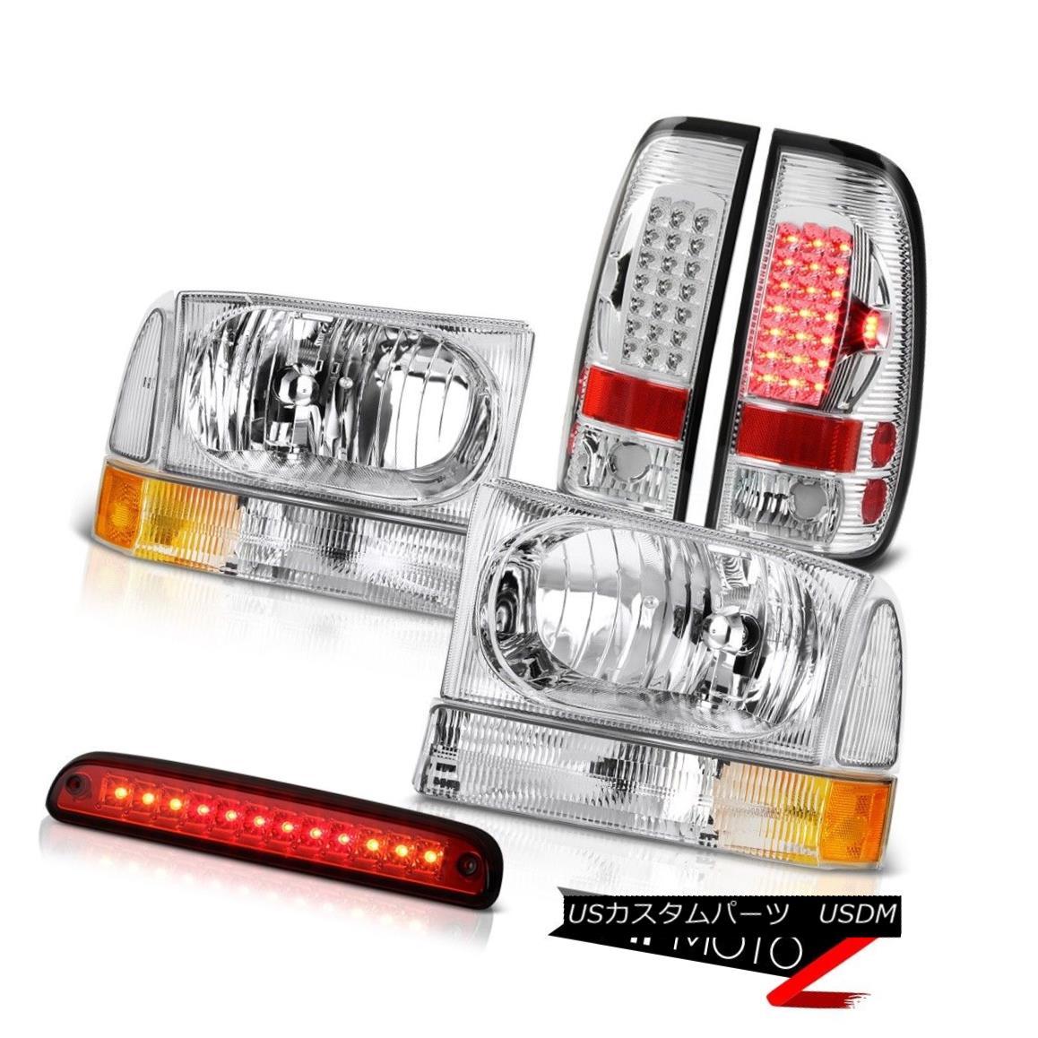 ヘッドライト Crystal Headlights LH RH Wine Red 3rd Brake LED Clear Tail Light 1999-2004 F250 クリスタルヘッドライトLH RHワインレッド第3ブレーキLEDクリアテールライト1999-2004 F250