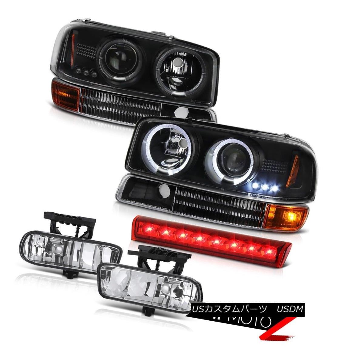 ヘッドライト Projector Black Headlights Bumper 2000-2006 Yukon FogLights Red Third Brake LED プロジェクターブラックヘッドライトバンパー2000-2006 Yukon FogLightsレッド第3ブレーキLED