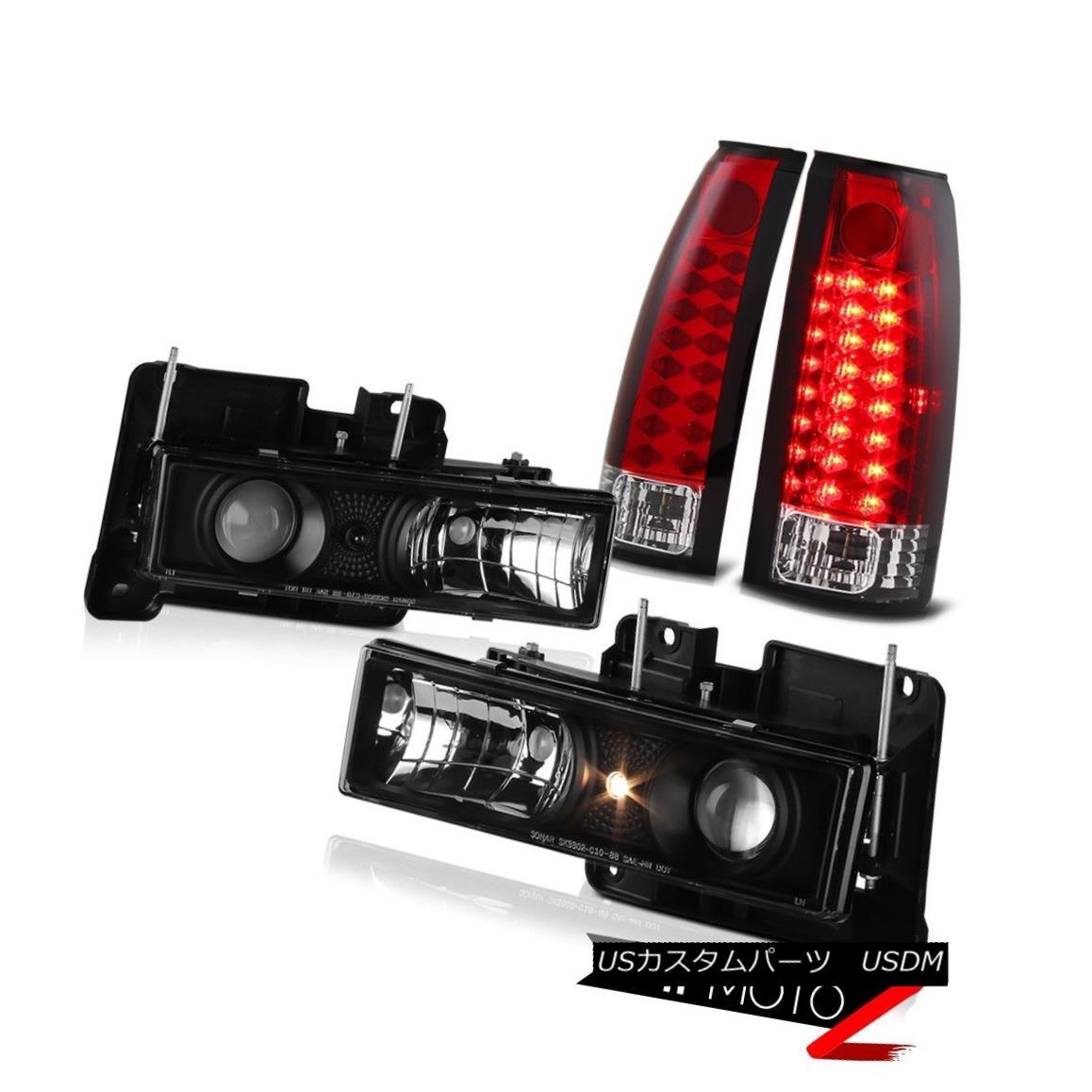 ヘッドライト BRIGHT RED LED Rear Tail Lamps+Projector Black Headlight 88-98 Chevy GMC C10 C/K BRIGHT RED LEDリアテールランプ+プロジェクター rブラックヘッドライト88-98 Chevy GMC C10 C / K