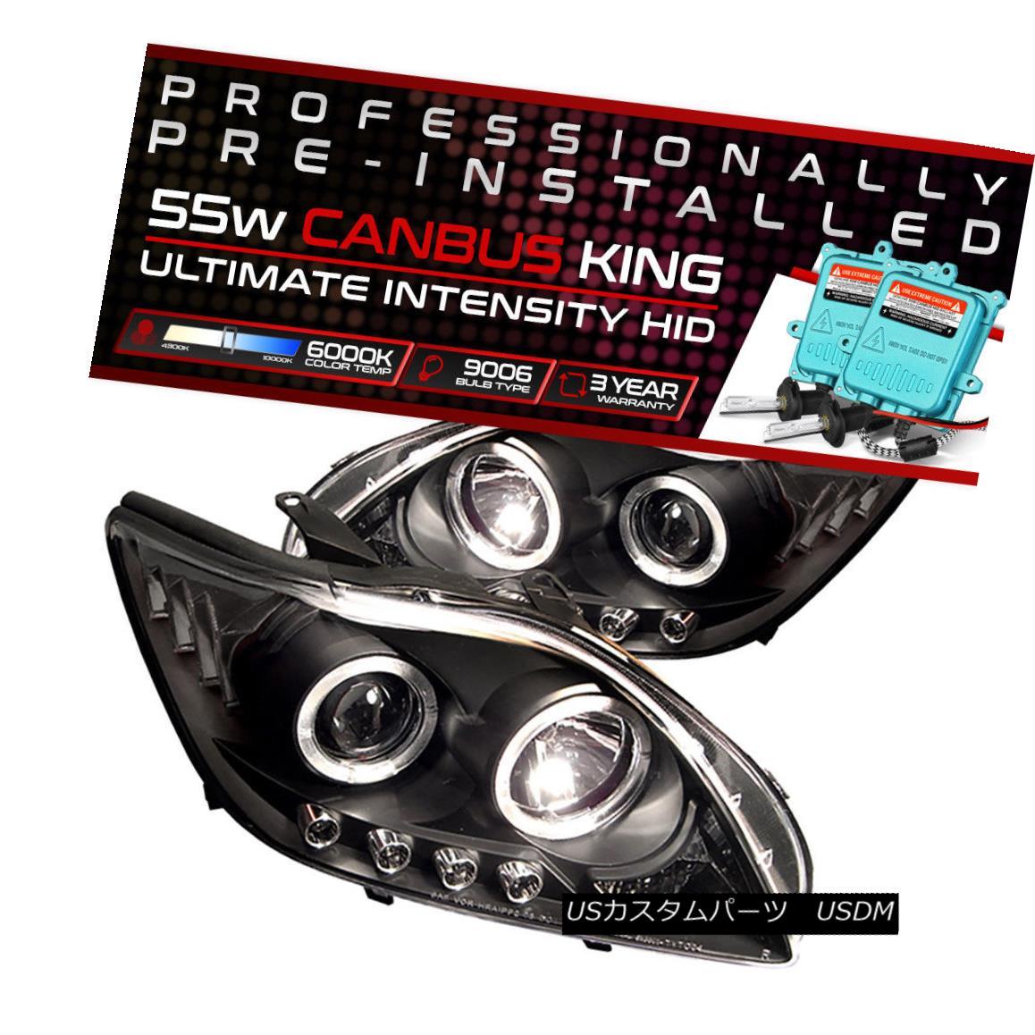 ヘッドライト !55W HID Built-In! 05-07 Scion tC Black Dual Halo Angel Eye Projector Headlight !55W HID内蔵! 05-07シオンtCブラックデュアルヘイローエンジェルアイプロジェクターヘッドライト