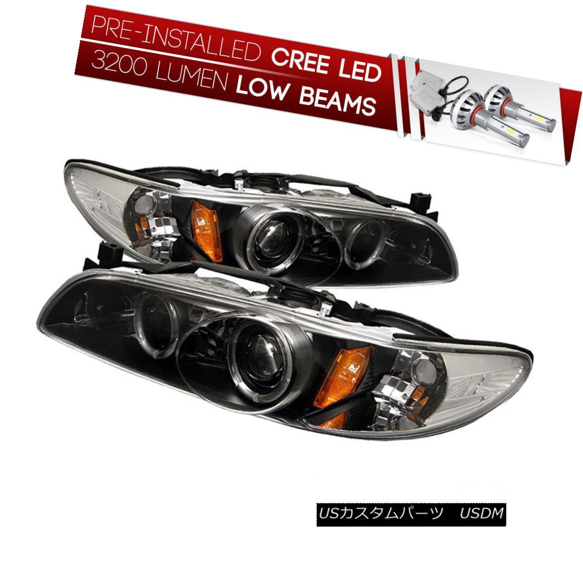 ヘッドライト [CREE LED Bulb Installed] 97-03 Grand Prix Black Dual Halo Projector Headlight [CREE LED Bulbをインストール] 97-03グランプリブラックデュアルヘイロープロジェクターヘッドライト