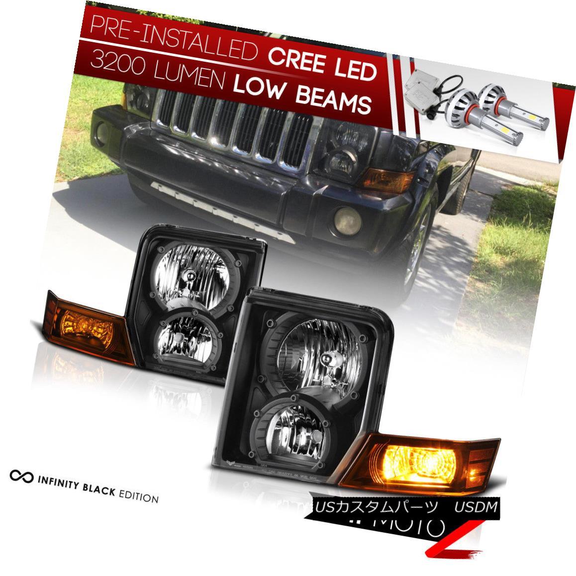 ヘッドライト [CREE LED Bulb Installed] 06-10 Jeep Commander Black Replacement Headlight Lamp [CREE LED Bulb Installed] 06-10ジープコマンダーブラック交換ヘッドランプ