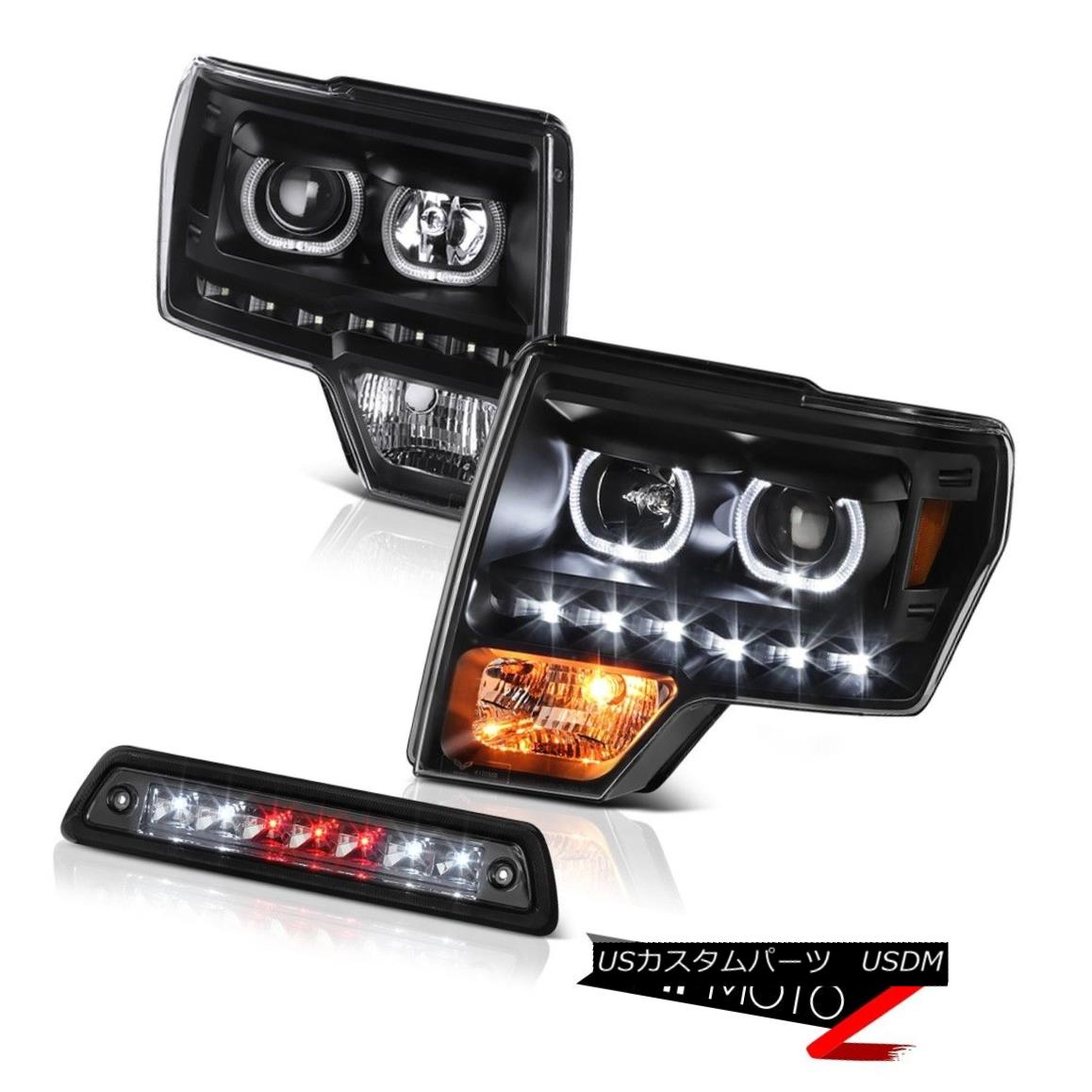 ヘッドライト 09-14 F150 FX4 Third brake lamp infinity black headlights LED Halo Rim Dual Halo 09-14 F150 FX4第3ブレーキランプ無限黒ヘッドライトLED Halo Rim Dual Halo