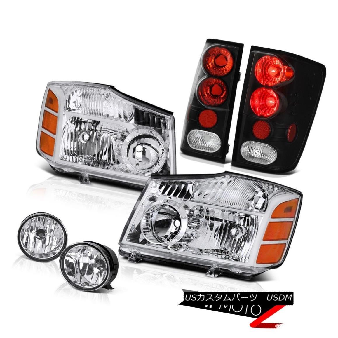 ヘッドライト For 04-15 Titan SE Pair Chrome Headlight Black Tail Light Lamp Clear Bumper Fog 04-15タイタンSEペアクロームヘッドライトブラックテールライトランプクリアバンパーフォグ