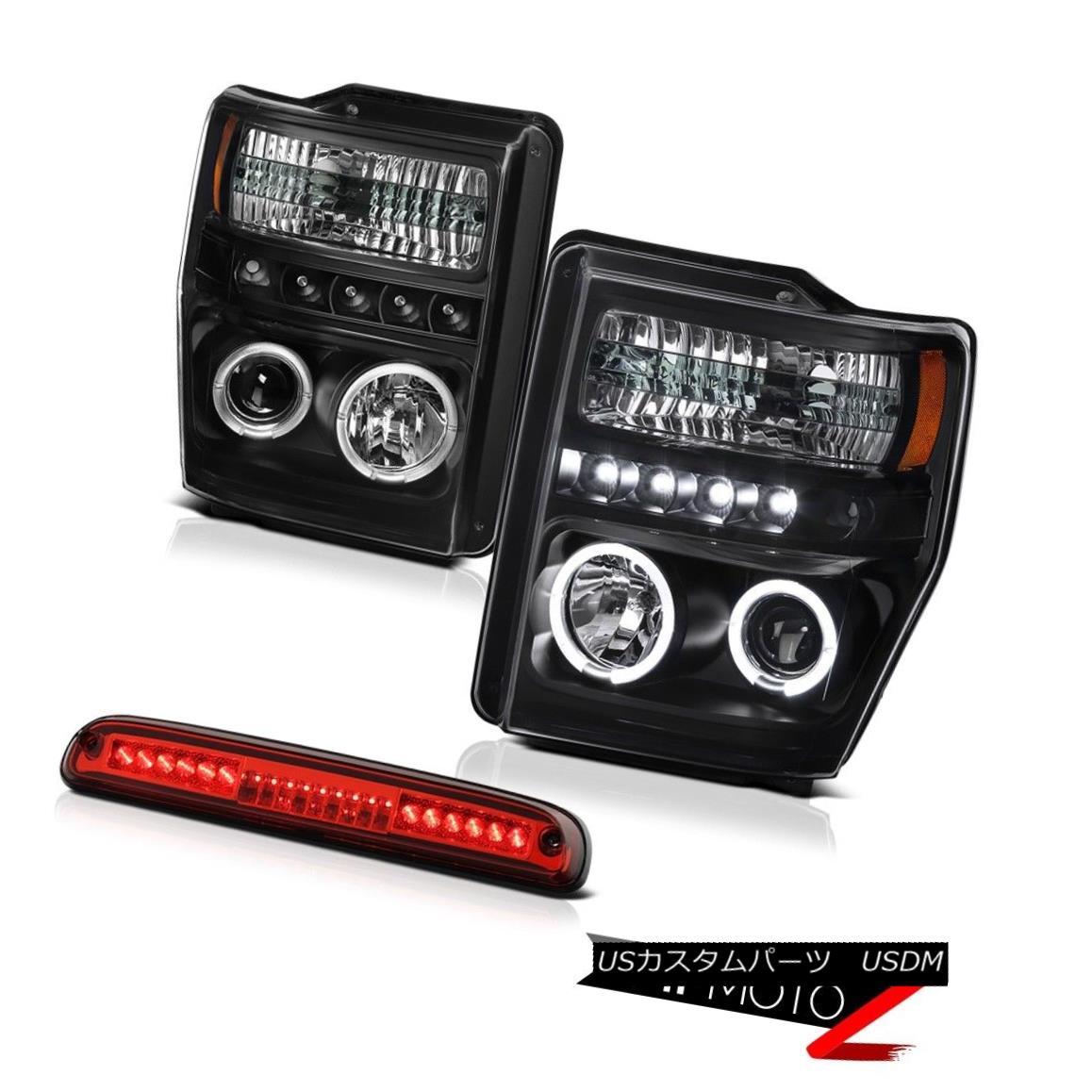 ヘッドライト 08-10 F350 6.3L Daytime Projector Halo LED Headlight High Stop LED Red 3RD Brake 08-10 F350 6.3L昼間プロジェクターHalo LEDヘッドライトハイストップLED赤3RDブレーキ