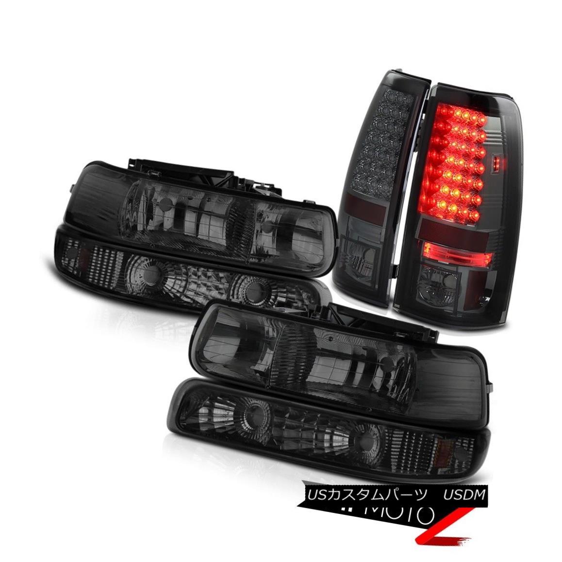 ヘッドライト 1999-2002 Chevy Silverado Headlight Bumper Corner Lamp Dark LED Brake Tail Light 1999-2002シボレーシルバラードヘッドライトバンパーコーナーランプダークLEDブレーキテールライト