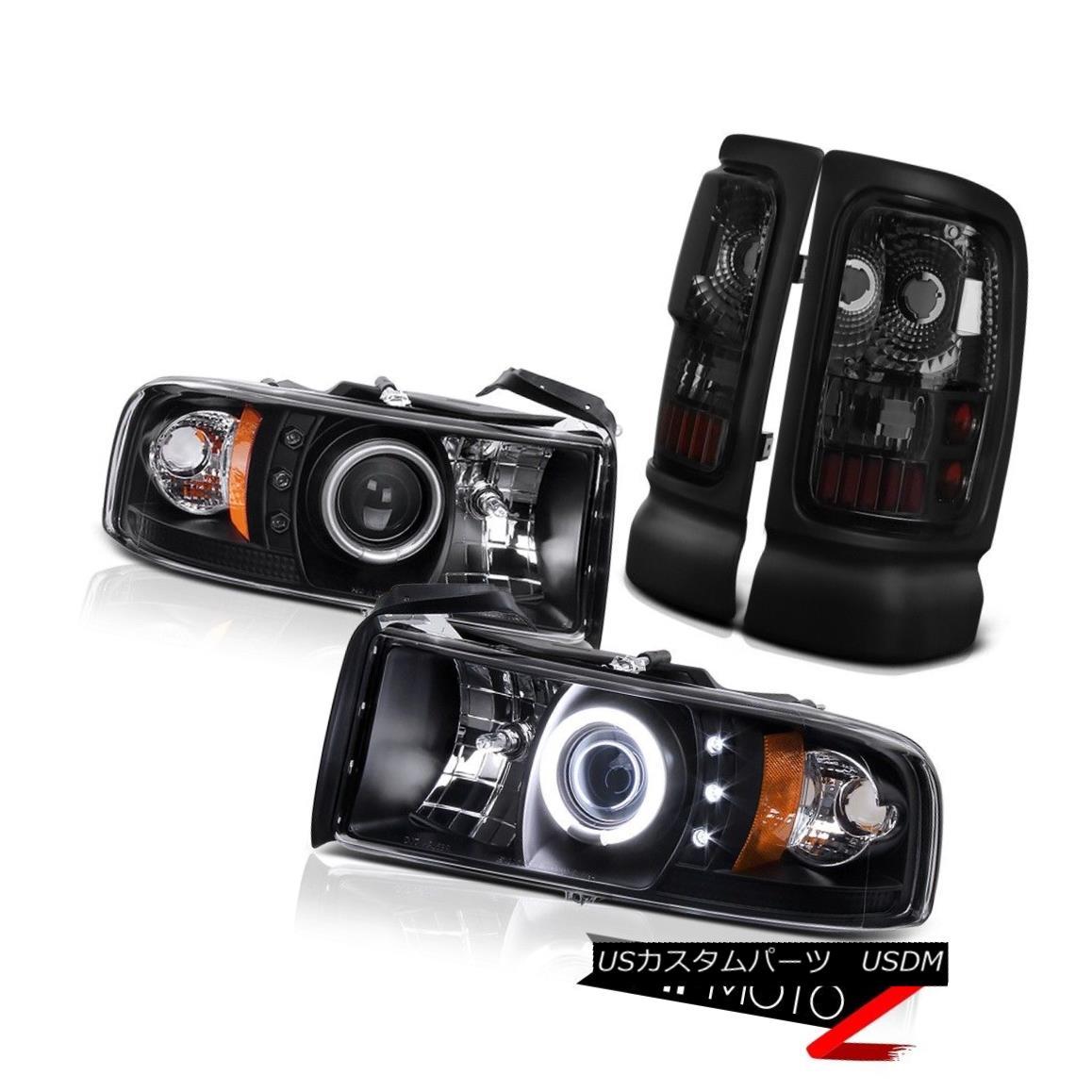 ヘッドライト 1994-2001 Dodge Ram Black CCFL Halo Head Lights+Tinted