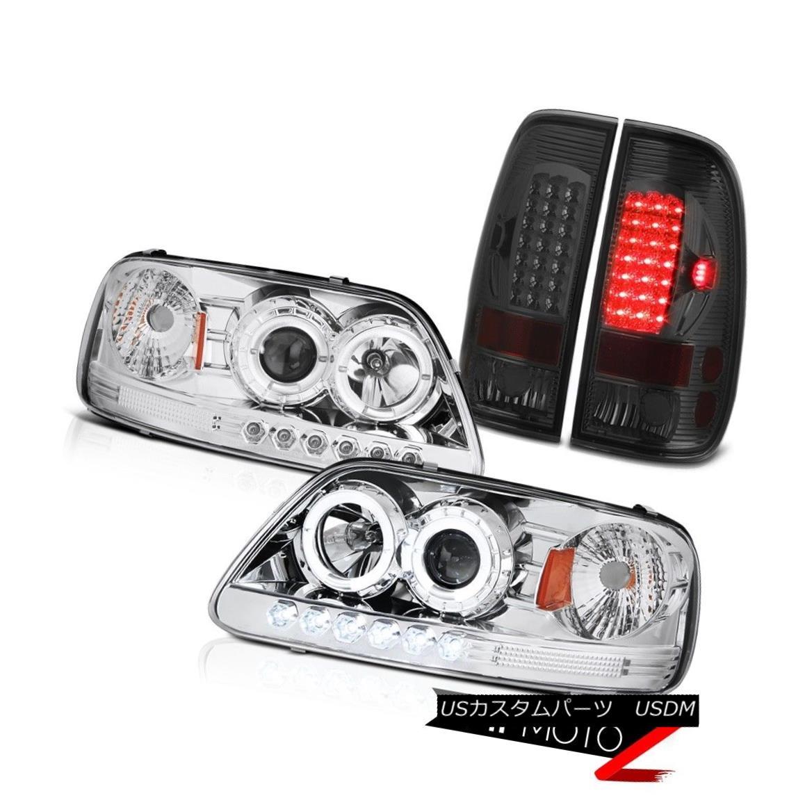 ヘッドライト F150 Lariat 97-03 Clear Halo Angel Eye Headlights Signal Parking Tail Lights Set F150ラリアート97-03クリアヘリオエンジェルアイヘッドライトシグナルパーキングテールライトセット