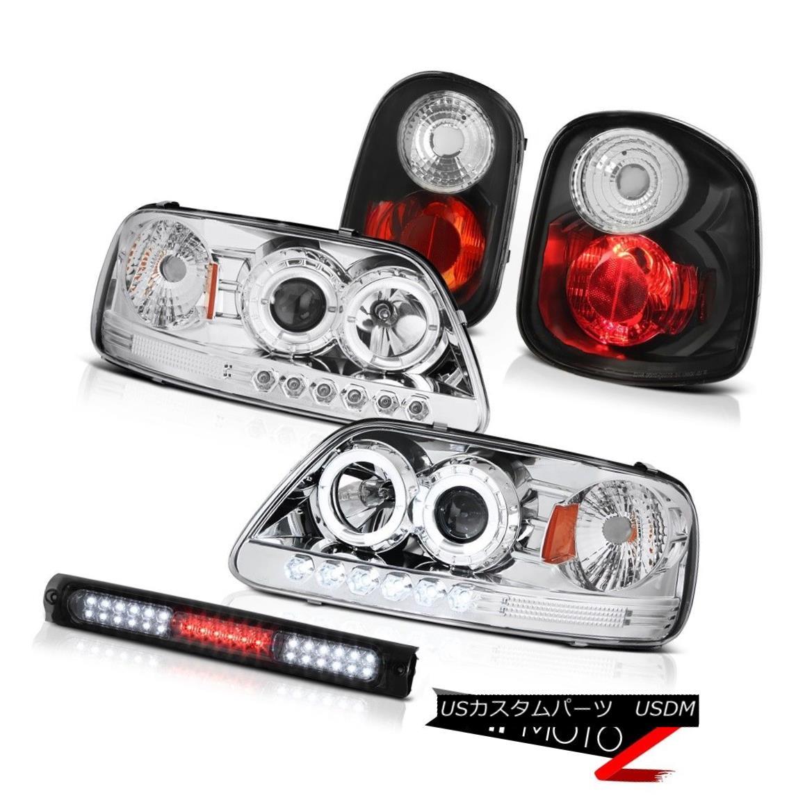 ヘッドライト Chrome LED Headlights Black Tail Lights Stop Smoke 97-00 F150 Flareside Hertiage クロームLEDヘッドライトブラックテールライトストップスモーク97-00 F150 Flareside Heritage