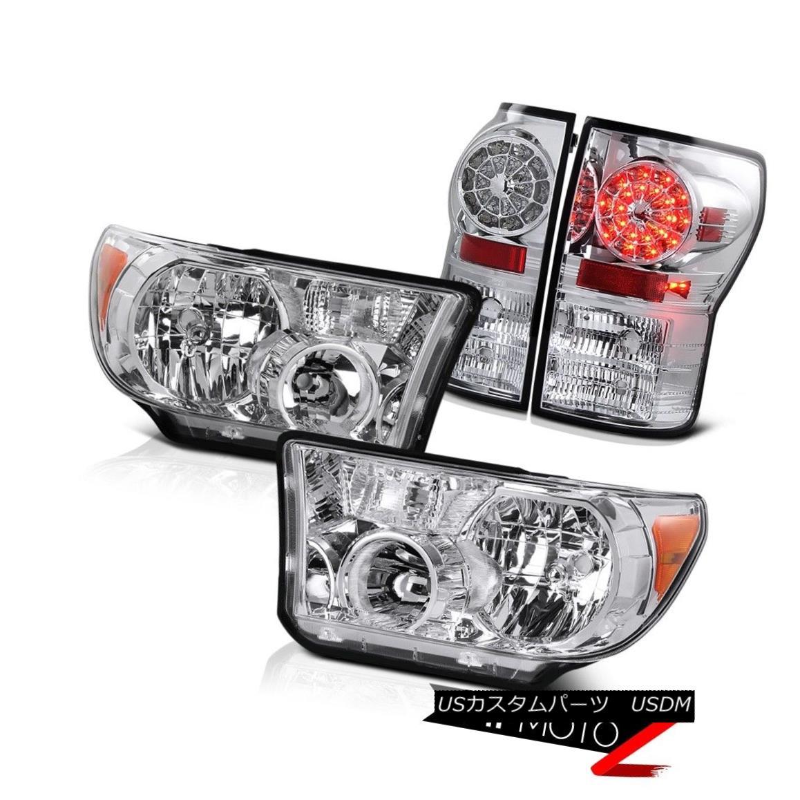 ヘッドライト Crystal Clear L+R Headlight Lamp+Chrome Led Tail Light Lamp 07-13 Tundra Truck クリスタルクリアL + Rヘッドライトランプ+クロームLedテールライトランプ07-13トンドラトラック