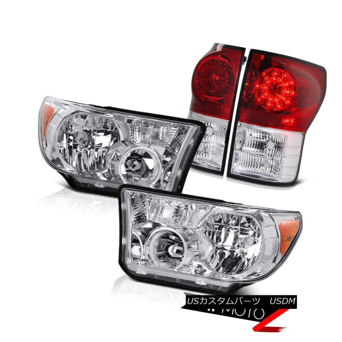 ヘッドライト 07-13 Tundra Truck Crystal Clear L+R Headlight Lamp+Factory Style LED Tail Light 07-13トンドラトラッククリスタルクリアL + Rヘッドライトランプ+ファクトリースタイルLEDテールライト