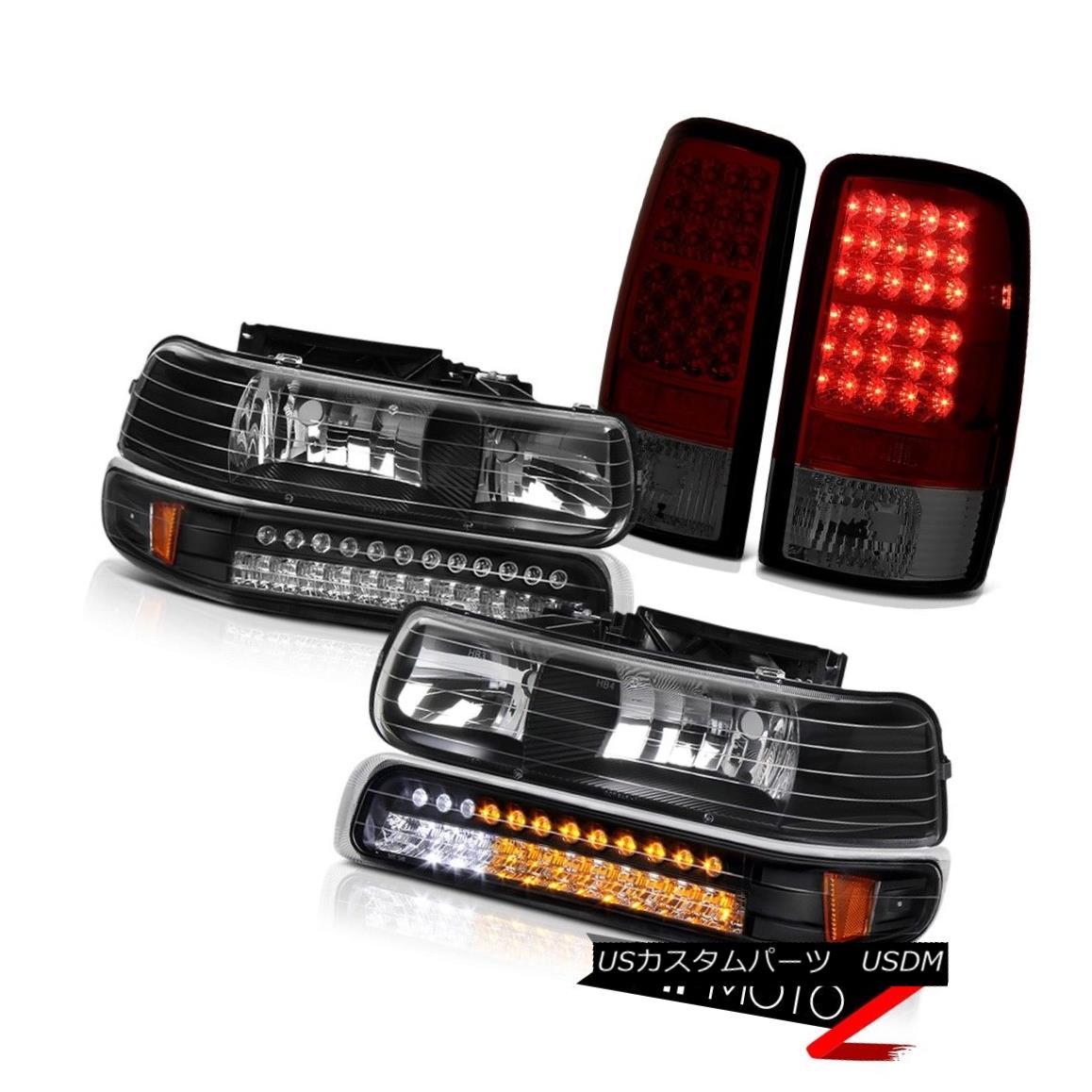 ヘッドライト 2000-2006 Tahoe LT Black SMD Signal Bumper Headlights+Smokey Red LED Tail Lights 2000-2006 Tahoe LT Black SMDシグナルバンパーヘッドライト+ Smo キー赤色LEDテールライト